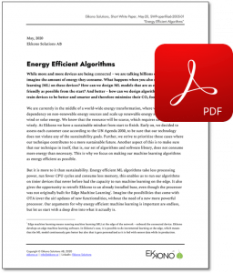 Short White Paper - Energy Efficient Algorithms